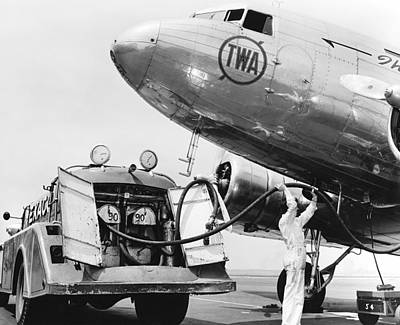 Passenger Plane Photograph - Fueling A Dc-3 Airliner by Underwood Archives