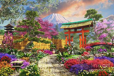 Zen Digital Art - Fuji Flora by Dominic Davison