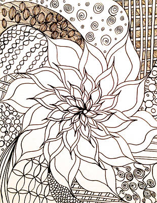 Abstract Shapes Drawing - Full Bloom V by Anita Lewis