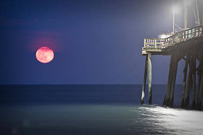 Full Moon At Carolina Beach Pier Print by Phil Mancuso