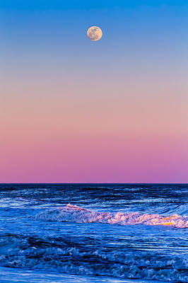 York Beach Photograph - Full Moon At Sea by Ryan Moore