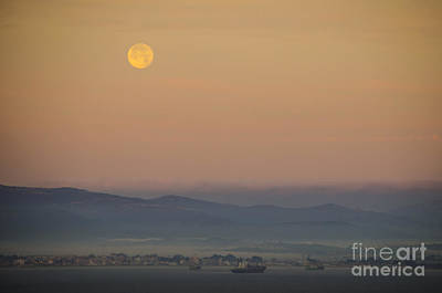 Man In The Moon Photograph - Full Moon At Sunrise Over Spanish Coast by Deborah Smolinske