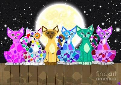 Painting - Full Moon Felines by Nick Gustafson