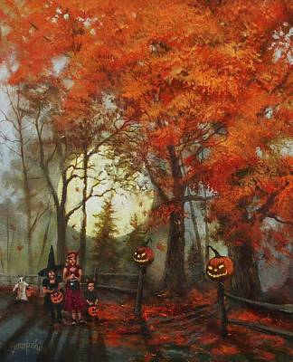 Lantern Painting - Full Moon On Halloween Lane by Tom Shropshire
