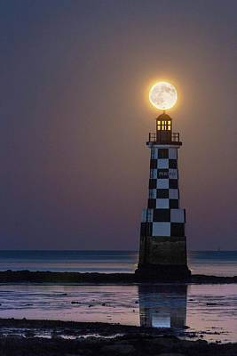 Full Moon Over Lighthouse Print by Laurent Laveder