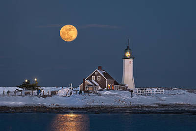 Lighthouse Photograph - Full Moon Over Scituate Light by Betty Wiley