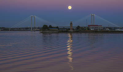 Full Moon Over The Cable Bridge Print by Loree Johnson