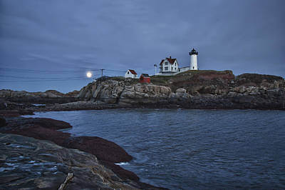 Ocean View Photograph - Full Moon Rise Over Nubble by Jeff Folger