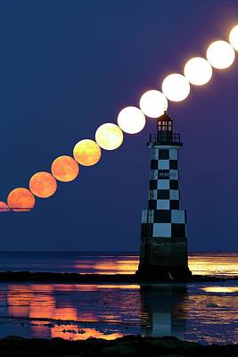 Full Moon Rising Over Lighthouse Print by Laurent Laveder
