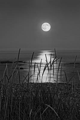 Desert Island Digital Art - Full Moon Seawall Beach Acadia National Park by Keith Webber Jr