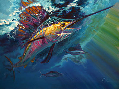 Flyfishing Painting - Full Sail by Savlen Art