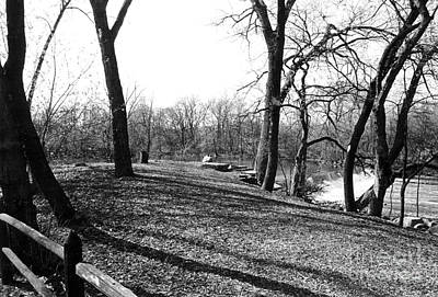 Fullersburg Woods Landscape In Black And White Print by ImagesAsArt Photos And Graphics