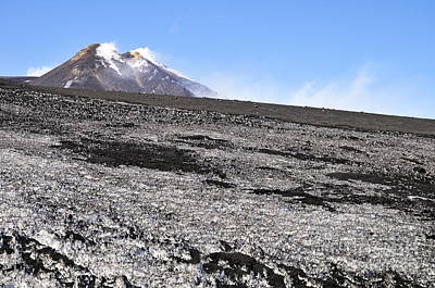 Fumarole And Snow Field On Mount Etna Print by Sami Sarkis