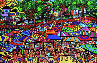 Fun Beach Print by Karen Elzinga