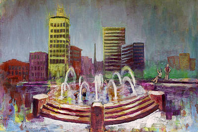 Asheville Artist Painting - Fun In The Fountain In Asheville by Gray  Artus