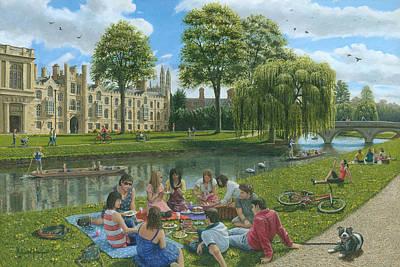Summer Picnic Painting - Fun On The River Cam Cambridge by Richard Harpum