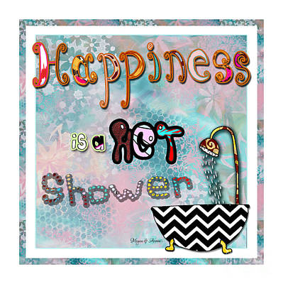 Fun Whimsical Inspirational Word Art Happiness Quote By Megan And Aroon Print by Megan Duncanson