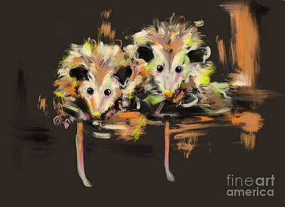Possum Painting - Funcky Baby Possums by Go Van Kampen