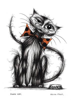 Moggy Drawing - Funky Cat by Keith Mills