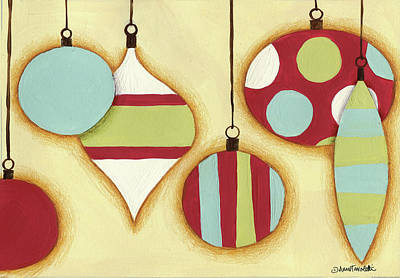 Dot Painting - Funky Christmas Iv by Anne Tavoletti