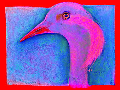 Multi Colored Painting - Funky Demoiselle Crane Bird Art Prints by Sue Jacobi