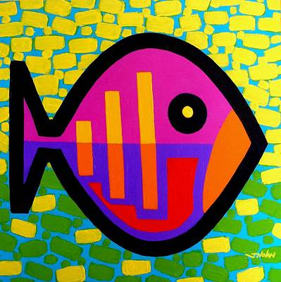 Tropical Fish Painting - Funky Fish V by John  Nolan