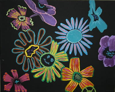 Funky Flowers Print by Betty-Anne McDonald