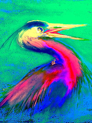 Multi Colored Painting - Funky Gbh Great Blue Heron Bird Art Prints by Sue Jacobi
