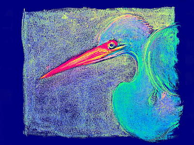 Multi Colored Painting - Funky Great Egret Twists And Turns Art Prints by Sue Jacobi