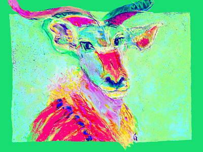 Funky Greater Kudu African Wildlife Art Prints Print by Sue Jacobi