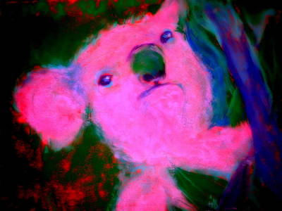 Multi Colored Painting - Funky Koala Bear In Pink by Sue Jacobi
