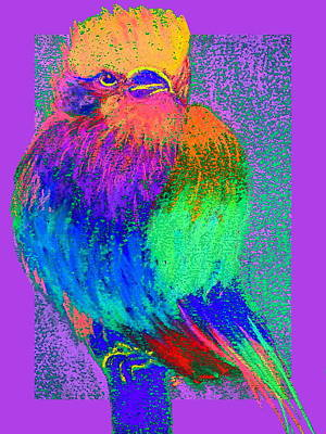 Multi Colored Painting - Funky Lilac Breasted Roller Bird Art Prints by Sue Jacobi