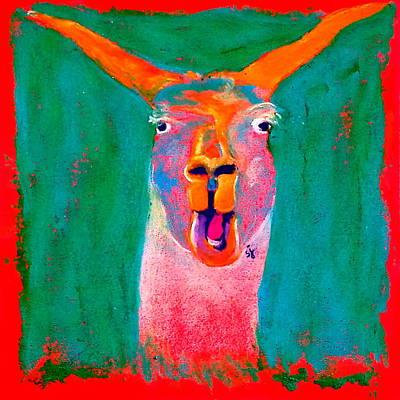 Llamas Painting - Funky Llama Art Print by Sue Jacobi