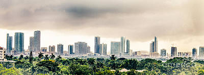 American Airlines Arena Photograph - Funky Miami Skyline by Rene Triay Photography