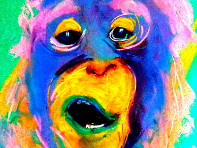 Orangutan Painting - Funky Monkey Art Print by Sue Jacobi