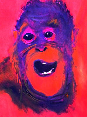 Orangutan Painting - Funky Monkey Happy Chappy by Sue Jacobi