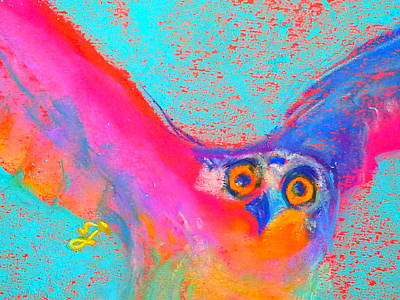 Of Toddlers Painting - Funky Osprey Bird In Flight Art Prints by Sue Jacobi