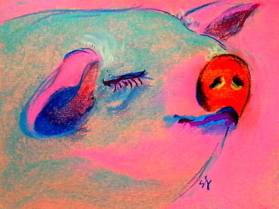 Multi Colored Painting - Funky Piggy Pink by Sue Jacobi
