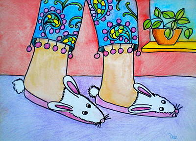 Rabbit Drawing - Funny Bunny Slippers by Debi Starr