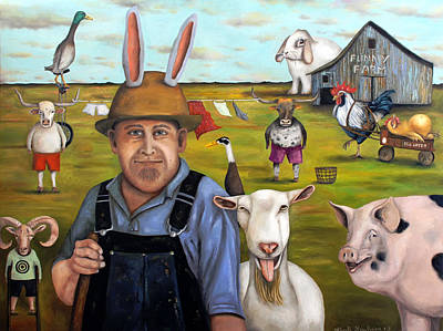 Steer Painting - Funny Farm by Leah Saulnier The Painting Maniac