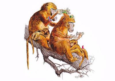 Funny Monkeys Print by Rose Rigden