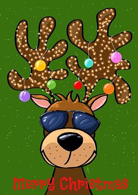 Reindeer Painting - Funny Reindeer by Veronica Minozzi
