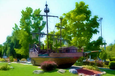 Park Scene Painting - Funplex Funpark Boat 3 by Lanjee Chee