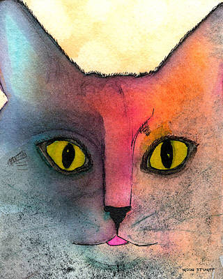 Watercolor Cat Painting - Fur Friends Series - Abby by Moon Stumpp