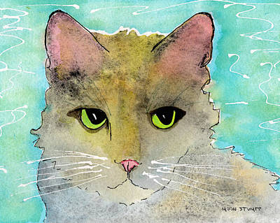 Cat And Moon Painting - Fur Friends Series - Lir by Moon Stumpp