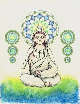 Hindu Goddess Drawing - Fureai Quan Yin In Kyoto by Keiko Katsuta