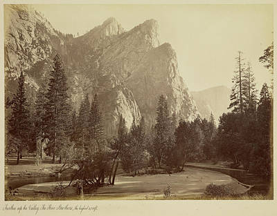 Yosemite National Park Drawing - Further Up The Valley. The Three Brothers, The Highest by Litz Collection