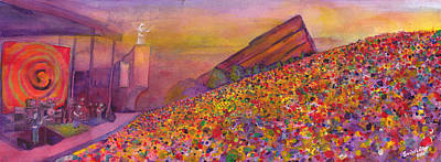 Bob Painting - Furthur At Redrocks 2011 by David Sockrider