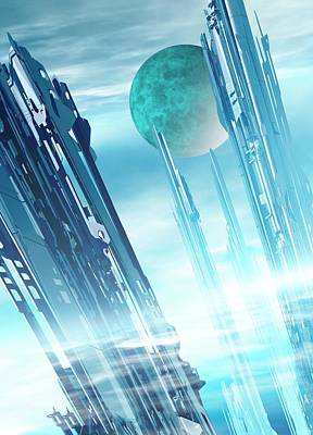 Space Photograph - Futuristic City by Victor Habbick Visions