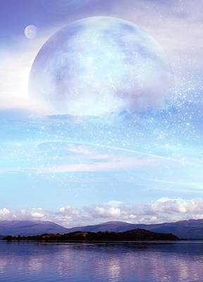 Futuristic Moon Over Water Print by Victor Habbick Visions